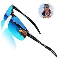 Driving Polarized Sunglasses for Men UV Protection Ultra Lightweight Al Mg Golf Fishing Sports...
