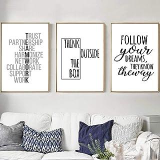 kldfig Citazioni motivazionali Stampa Poster Disegnato a mano Inspirational Tela Pittura Ufficio Wall Art Immagini moderne...