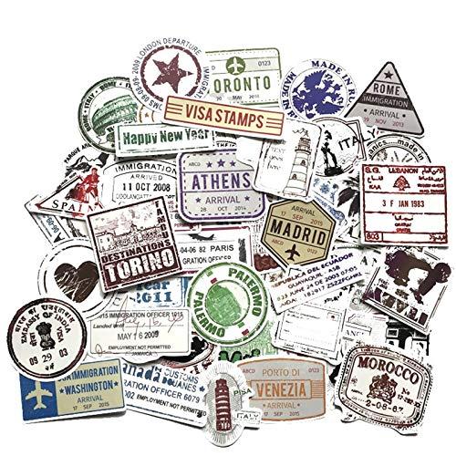 60pcs kreative Poststempel Stempel Stil Aufkleber der beliebten Stadt Paris New York London Rom für Gepäck Koffer Auto Aufkleber F4