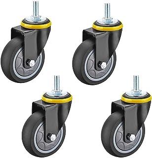 4 stuks meubelwielen, industriële wielen, zwenkwielen van TPR, met dubbele vergrendeling, robuust, M12 x 30 mm, voor mobie...