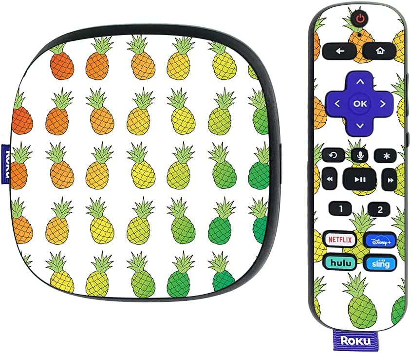 MightySkins Skin Compatible with Roku Ultra HDR 4K Streaming Media Player (2020) - Rainbow Pineapples | Protective, Durable, and Unique Vinyl Decal wrap Cover | Easy to Apply | Made in The USA