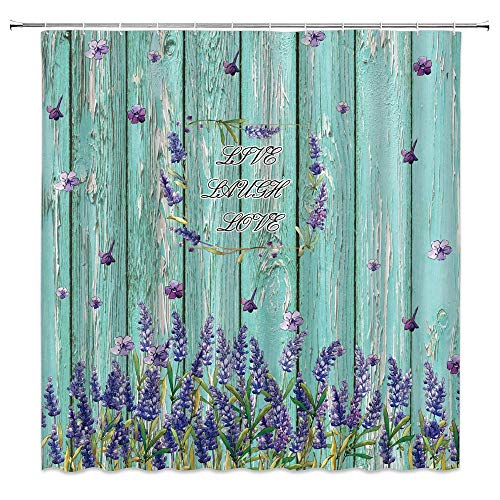 Lavender Shower Curtain Rustic Inspirational Quote Live Laugh Love Vintage Purple Flowers Turquoise Wooden Board Spring Floral Bloom Country Fabric Bathroom Curtain Set with Hooks 70x70 Inch