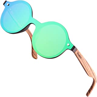 Verdster Tokyo Round Sunglasses for Women and Men - Wood Temples - Frameless Appearance