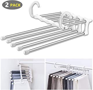 WAOU Hangers Multi-Layer Hanging Pants.5 in 1 Pants Rack Stainless Steel Pants Hangers Folding Storage Rack Space Saver Storage for Trousers Scarf Tie Belt Adjustable(2 Pack)