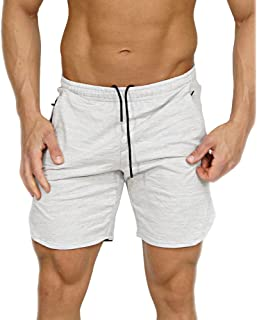 EVERWORTH Men's Gym Workout Shorts Running Short Pants Fitted Training Bodybuilding Jogger Zipper Pockets 3 Colors