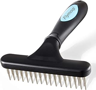 Flymoqi Dog Comb - Stainless Steel Deshedding and Dematting Undercoat Rake - for Dogs, Cats and Rabbits, Double Row of Teeth, Reduces Shedding, Removes Mattes and Tangles, Black/Blue.
