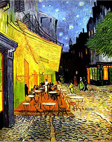 Fleece canvas muurkunst afbeeldingen café terras 's nachts canvas schilderij wereldberoemde olieverfschilderij reproductie wandposter en print Home Decor 40x60cm unframed Vg47