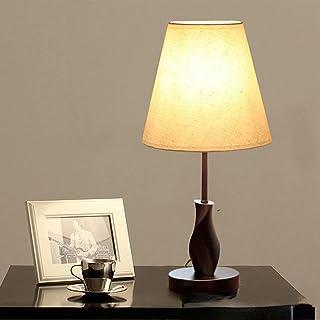 Lampe De Table Avec Abat-jour En Aspect Lin Marron Pied Asymétrique Chevet Déco, Marron [Abat-jour En Lin] (Abat-jour en l...