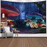 Yhjdcc Tapiz Trippy Tapiz Colgante de Pared Psicod¨¦Lico Bohemio Hippie P¨²rpura Azul Niebla Seta Bosque Arte Impreso Decoraci¨n de la Sala de Estar 150cm x 200 cm