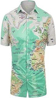 Masun Men's World Map Printed T-Shirt Fashion Short Sleeve Button Down Funny 3D Print Tops Summer Casual Cool Blouse