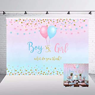 Boy or Girl Gender Reveal Backdrop Blue Pink Dots Balloon Photography Background 7x5ft Vinyl Gender Reveal Baby Shower Party Banner Backdrops W 1860