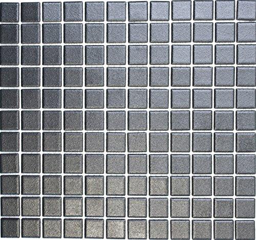 Mosaik Quadrat uni schwarz rutschhemmend R10B Keramik rutschsicher trittsicher anti slip rutschfest Duschtasse Boden Küche Bad WC, Mosaikstein Format: 2,5x2,5x6 mm, Bogengröße: 330x302 mm   10 Mosaikmatten