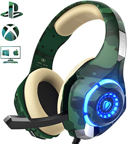 PS4 Gaming Headset with mic, Beexcellent Xbox One Headset with Stereo Sound Noise Isolation Memory Foam LED Light for...