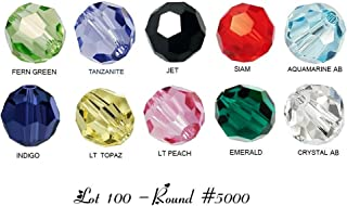 100 High Quality Authentic EvesErose Czech Crystal Beads with AB Colors, Size 6mm Round #5000(10 Colors, 10 each) For Swarovski Crafting