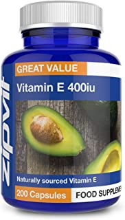Vitamin E 400iu. 200 Softgels. Natural Vitamin E (d-Alpha Tocopherol). Powerful Antioxidant. Protects Cells from Oxidative Stress.