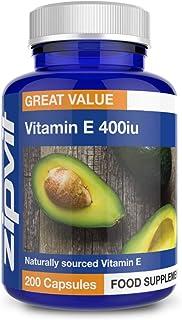 Vitamin E 400iu. 200 Softgels. Natural Vitamin E (d-Alpha Tocopherol). Powerful Antioxidant. Protects Cells from Oxidative Stress.