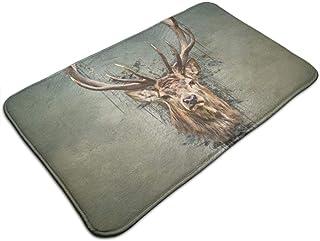 HUTTGIGH - Felpudo antideslizante para puerta de entrada de ciervo, alfombra de baño, cocina, 19,5 x 31,5 pulgadas