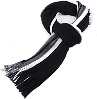 Bullidea Men's Scarves Winter Warm Knitted Scarf Tassel Ends Striped Soft Scarf Black