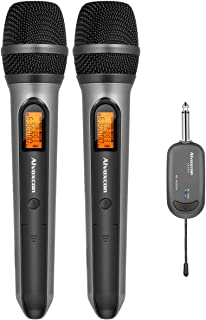 Wireless Microphone System, Alvoxcon DUAL UHF Dynamic Handheld mic for iPhone, Computer, Karaoke, Conference, DJ, Vocal Recording, Singing, Church, On Stage Performance, Party Events (1/4 inch plug)