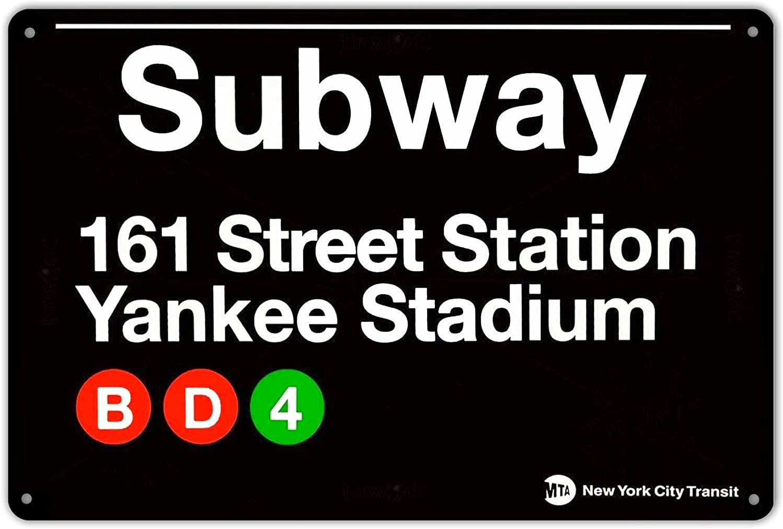 Yankee Stadium New York Street Subway 161 Retro Wall Bar Decor Metal Tin Sign 8x12in