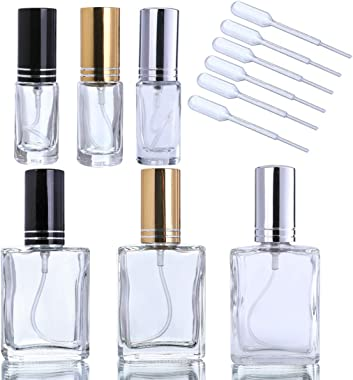 YUFENG Fashion Portable Clear Glass Perfume Bottle with Aluminum Atomizer Empty Cosmetic Container for Travel(Set of 6)