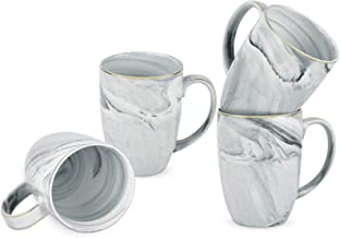 Marble Coffee Mug Set of 4 Mug Sets for Coffee Marble Ceramic Cup Mug Set Coffee Mug Set 16 Oz for Coffee Tea Milk Cocoa G...