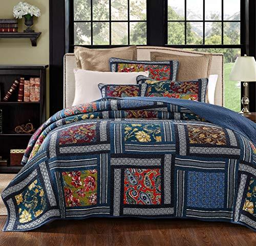 YAYIDAY Tagesdecke Bettüberwurf Baumwolle Quilt für Doppelbett Patchwork Gesteppt Steppdecke / 260 x 270 cm (Navy King)