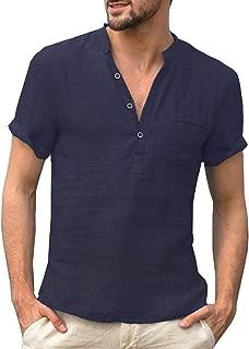 Daupanzees Men Linen Henley Shirts Casual Standard Fit Long Sleeve Basic Summer Beach Henley Shirts Yoga Top Blouse Tee