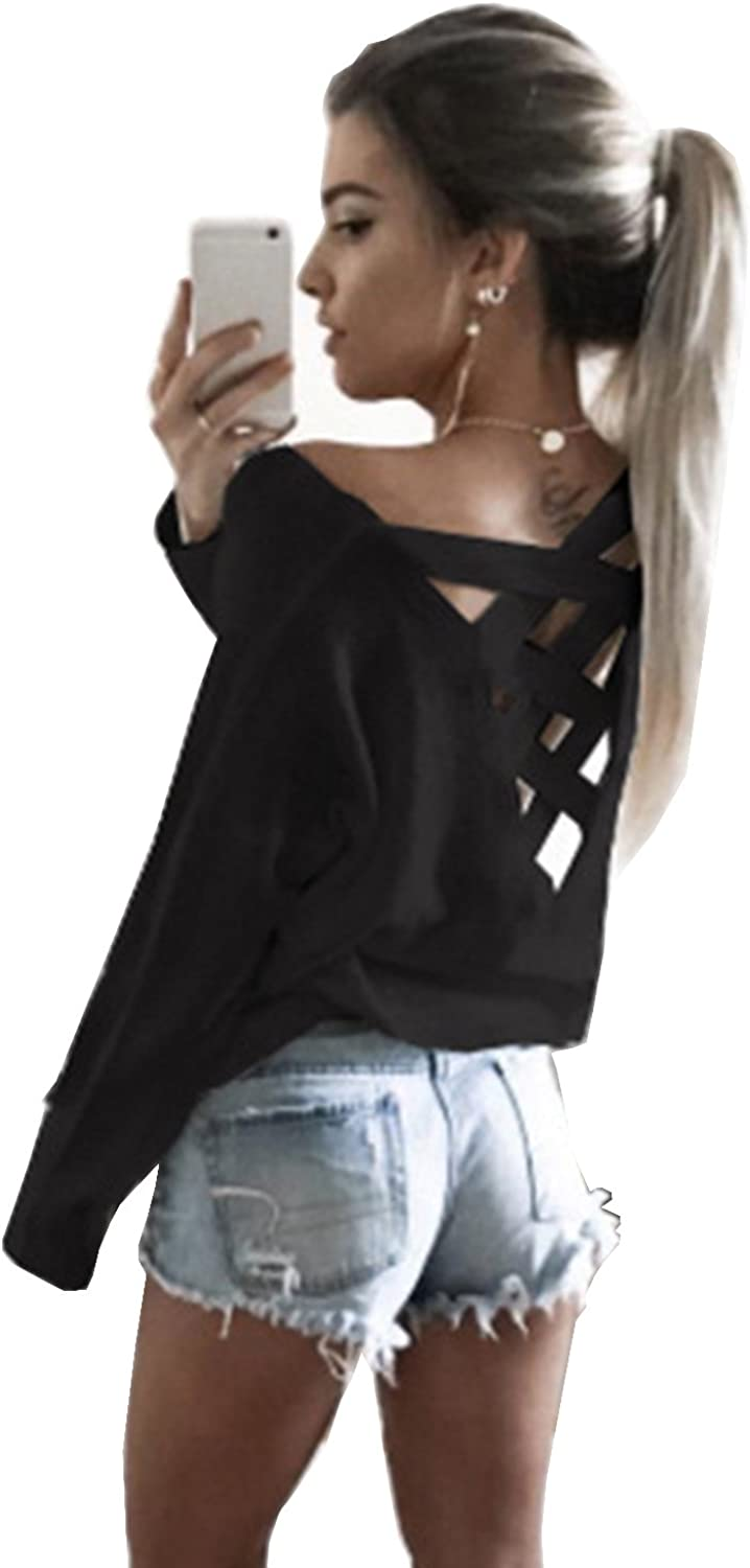 Yingkis Women's Cut Out Loose Quality inspection Criss Ranking TOP12 Cross Pullover Backless Swea