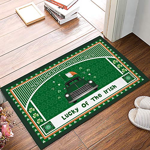 Welcome Door Mats Indoor Entrance Rug Mat, St. Patrick's Day Lucky of the Irish Kitchen Floor Bathroom Carpets Absorbent Non Slip Doormats,A Pickup Car with Irish Flag Celtic Knots Clovers 20x31.5inch