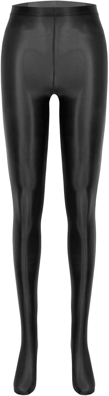 TiaoBug Womens Oil Shiny Silk High Waist Stockings Pantyhose Dance Full Footed Tights