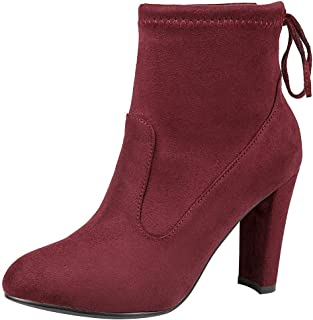 ZX Boots Women's Soft Flannelette Elegant High Block Heel Ankle Boots Adjustable Shaft Width with Drawstring