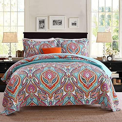 Bomullssängklädsel Set-andningsbar sängfilt-blommig quiltad sängöverdrag Klassisk design hela säsongen, sängöverdrag Lätt sängkläder, imiterad lapptryckssäng i tre delar,Pink