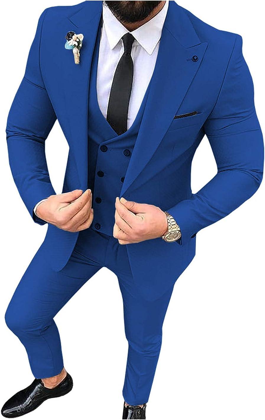Traje de hombre de 3 piezas, ajustado, para hombre (azul + ...