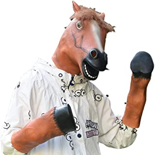 PARTY STORY Halloween Costume Party Animal Horse Head Mask with 1 Pair Horse Hooves Gloves Brown