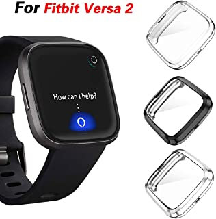 KPYJA Compatible with Fitbit Versa 2 Screen Protector, 3-Pack Full Coverage Soft TPU Case Slim Screen Protective Bumper Cover Saver Shell for Fitbit Versa 2 Versa Smartwatch (Black+Silver+Clear)