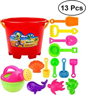 NUOLUX 13Pcs Castle Sand Tools Beach Set Multicolor Creative Sand Mold Kits with Cartoon Molds and Bucket for Kids