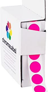 ChromaLabel 1/2 Inch Round Color Coding Labels, 1000 Box, Fluorescent Pink