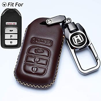Pilot Vitodeco Genuine Leather Smart Key Keyless Remote Entry Fob Case Cover with Key Chain for Honda Civic CR-V 5 Buttons, Red Fit Accord