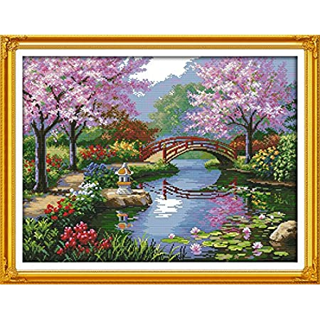 Benway Counted Cross Stitch Kit Japanese Beautiful Scenery 14 Count 57x45CM