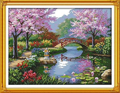 Joy Sunday Kit de broderie au point de croix facile à broder pour filles DMC - Fournitures de point de croix - 14 fils - Le beau paysage du parc