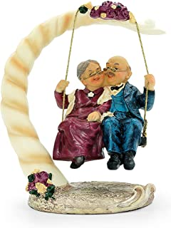 DreamsEden Loving Elderly Couple Figurines, Resin Wedding Anniversary Statues Home Decoration with Gift Card (Swing)