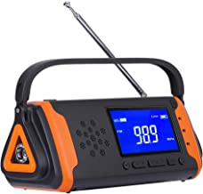 E&W Home Protector Digital Emergency Solar Crank AM/FM/NOAA Weather Alert Radio for All Types of Hazards,with 4000mAh Power Bank, Aux Music Play, USB Cell Phone Charger, SOS Alarm, LED