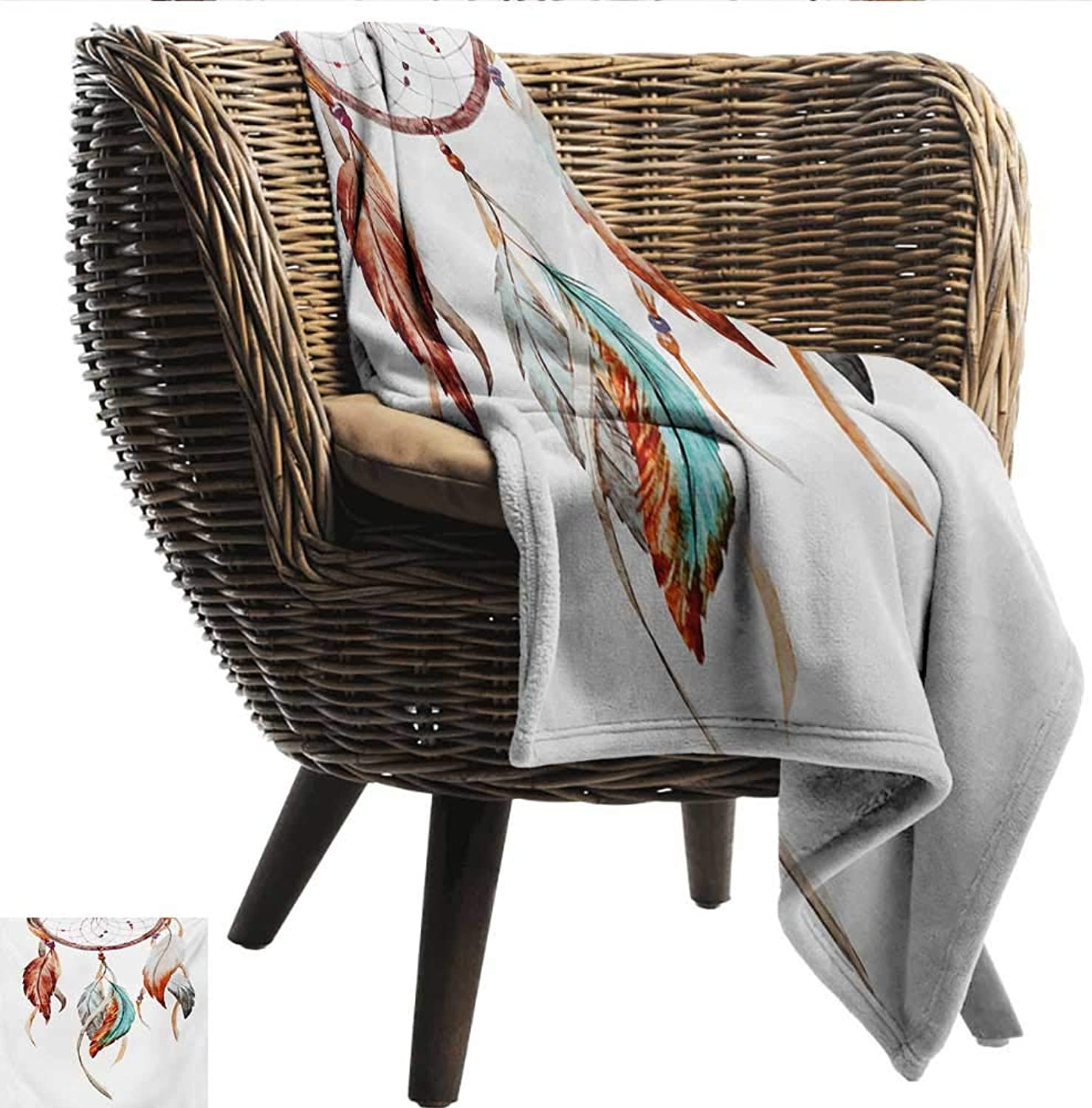Anshesix Living Room Bedroom Warm Blanket Feather Watercolor Dream Catcher Native American Inspirations Traditional Print Summer Quilt Comforter W60 xL51 Sofa,Picnic,Camping,Beach,Everyday use