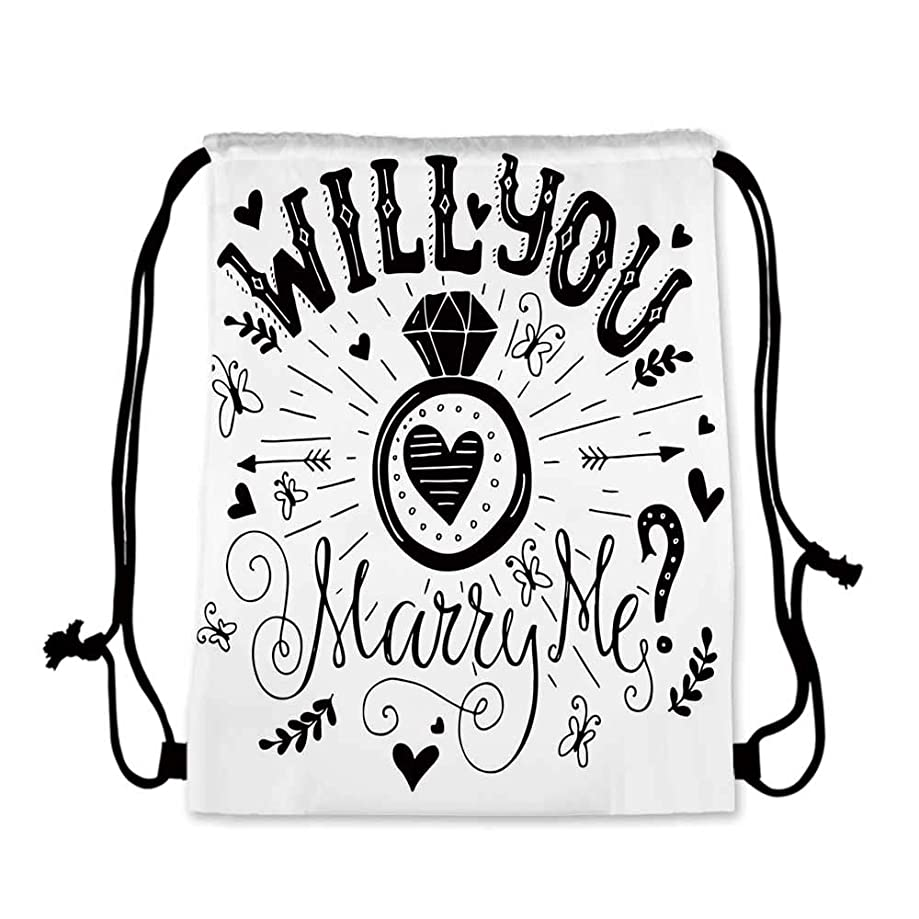 Engagement Party Decorations Practical Drawstring Bag,Western Themed Will YOu Marry Me Quote with Hearts Image for Women,17.7''L x 36''W