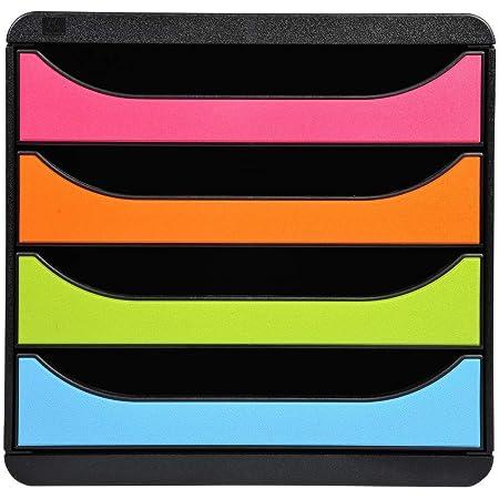 Exacompta - Réf. 310498D - BIG-BOX - Caisson 4 tiroirs pour document A4+ -Dimensions extérieures : Profondeur 34,70 x largeur 27,80 x Hauteur 26,70cm- Noir/Arlequin