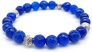 Bracciale Azteco Unisex in Agata Blu, con Sfere in Metallo, Pietre Dure, Elastico 19cm, Fatto a Mano