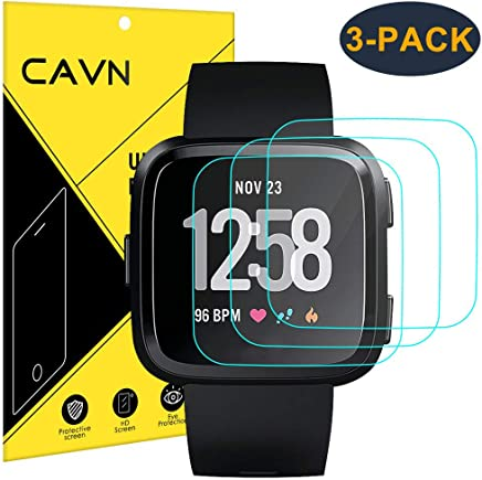 CAVN 3-Pack Screen Protector Compatible with Versa/Versa Lite Edition 9H Tempered Glass Screen Protector Compatible Versa 2018 and Versa Lite Edition Smartwatch 2019