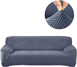 Stretch Sofa Cover Sectional Protector 1 Pcs DIY (Buy Two for L Shape Sofa)- Couch Soft Polyester Fabric Slipcovers Form Fit Furniture Slipcover - Microfibra Collection(Grey, A Part 3 Seat 74-90in)