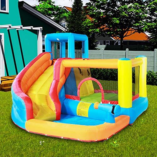 Springkasteel springkussen Amusement Park geschikt voor 5 tot 8 Kids/Toddlers/Babys, met glijbaan, waterkanonnen en klimwand, Outdoor Garden Party Gift